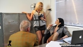 Beautiful managers turn business office perv into nylon leg holy devotion slave