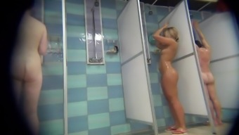 Spying throughout the tanned blonde with the use of restricted human body while in the shower.