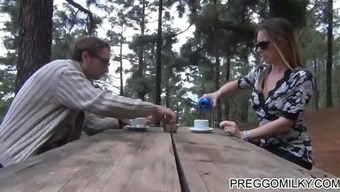 lactation among the wood with the use of realistic newbie MILF