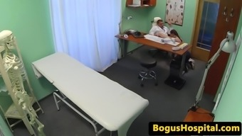 Cocksucking marketing rep pussyfucked by physician