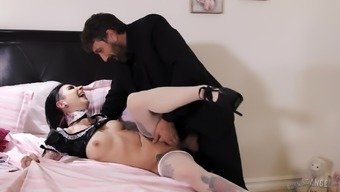 Inked black-haired hooker Joanna Seraph fucked in her naughty pussy