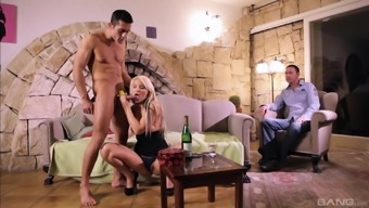 Blond hottie Lana S has entertaining by using a dick when in front of her boyfriend