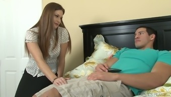 Lecherous step mothers Allison Moore is available in step son's trousers