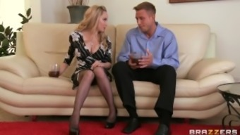 Lovely blond MILF Aiden Starr makes her son-in-law to hack