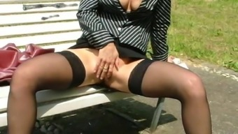 Laura italian slut in a public park