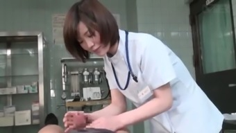 Subtitled CFNM Japanese ladies doctor gives affected person handjob